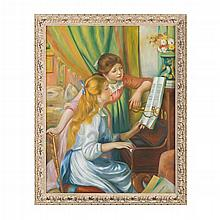 AFTER PIERRE-AUGUSTE RENOIR (FRENCH 1841-1919) GIRLS AT THE PIANO 115cm x 89cm (45.25in x 35in)