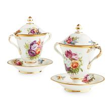 PAIR OF DERBY PORCELAIN COVERED CUPS ON STANDS EARLY 19TH CENTURY 21cm high
