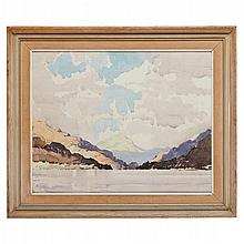§ ALBERT GORDON THOMAS R.S.W. (SCOTTISH 1893-1970) LOCH LOMOND 48cm x 60cm (19in x 23.5in)