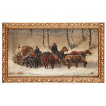 19TH CENTURY CONTINENTAL SCHOOL A PAIR OF PAINTINGS - HORSES IN SNOW 30cm x 56cm (11.75in x 22in) a pair (2)
