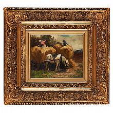 GEORGE SMITH R.S.A. (SCOTTISH 1870-1934) THE HAY WAGON 24cm x 29cm (9.5in x 11.5in)