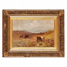 JOSEPH MILNE (SCOTTISH 1861-1911) CATTLE IN HIGHLAND LANDSCAPE 31cm x 45cm (12in x 17.75in)
