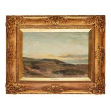 SIR JAMES LAWTON WINGATE R.S.A. (SCOTTISH 1864-1924) MACHRIE BAY, TWILIGHT 34cm x 49.5cm (13.5in x 19.5in)