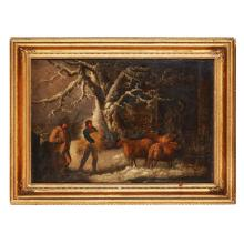 MANNER OF GEORGE MORLAND FEEDING THE SHEEP IN WINTER 45cm x 65cm (17.75in x 25.5in)