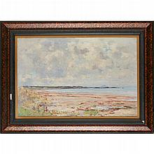 JOSEPH MORRIS HENDERSON R.S.A. (SCOTTISH 1864-1936) BY THE COAST 44.5cm x 67cm (17.5in x 26.5in)
