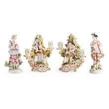 TWO PAIRS OF DERBY PORCELAIN FIGURE GROUPS 19TH CENTURY