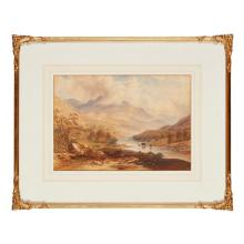 CHARLES FREDERICK BUCKLEY (BRITISH 1812-1869) PAIR OF HIGHLAND SCENES WITH CATTLE AND FIGURES 25.5cm x 37cm (10in x 14.5in) a pair (...