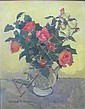 WINIFRED MCKENZIE (SCOTTISH 1905-2001) STILL LIFE WITH ORANGE ROSES 49cm x 39cm (19.1in1 x 15.21in)