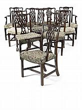 ASSEMBLED SET OF EIGHT GEORGE III STYLE MAHOGANY DINING CHAIRS 19TH CENTURY 60cm wide, 100cm high, 46cm deep
