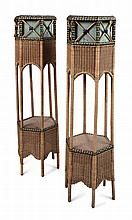 VIENNESE SCHOOL PAIR OF WICKER PLANTERS, CIRCA 1910 34cm across, 133cm high