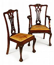 SET OF EIGHT MAHOGANY DINING CHAIRS BASED ON THE CHIPPENDALE PLATE DIRECTORY EARLY 20TH CENTURY 62cm wide, 103cm high, 43cm deep