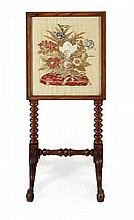 VICTORIAN TAPESTRY FIRE SCREEN 52cm wide, 114cm high