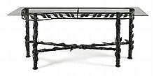 LARGE FOLIATE MOUNTED METAL FRAME TABLE 20TH CENTURY 190cm wide, 81cm high, 64cm deep