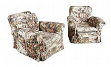 PAIR OF EDWARDIAN FLORAL UPHOLSTERED ARMCHAIRS 92cm wide, 78cm high, 61cm deep