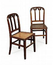 SET OF SIX VICTORIAN GOTHIC STYLE OAK CHAIRS 42cm wide, 87cm high, 39cm deep