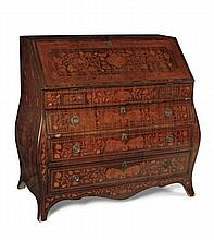 DUTCH MARQUETRY BOMBE BUREAU 107cm wide, 110cm high, 58cm deep