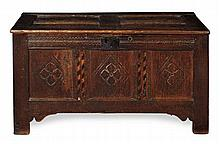 CARVED OAK COFFER 115cm wide, 61cm high, 53cm deep