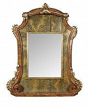 LARGE GENOVESE GILT FAUX MARBLE MIRROR ITALIAN CIRCA 1860 168cm wide, 203cm high, 20cm deep