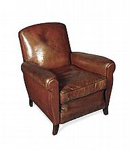 EDWARDIAN LEATHER CLUB CHAIR 78cm wide, 80cm high, 51cm deep