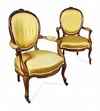 PAIR OF VICTORIAN OPEN ARMCHAIRS 62cm wide, 100cm high, 59cm deep