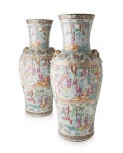 LARGE PAIR OF CHINESE CANTON FAMILLE ROSE PORCELAIN VASES 19TH CENTURY 61cm high