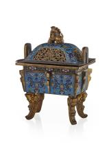 CLOISONNÉ ENAMEL INCENSE BURNER AND COVER, FANG DING 18TH/19TH CENTURY 16.5cm high