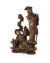 CARVED WOOD FIGURE GROUP QING DYNASTY, 19TH CENTURY 35cm high