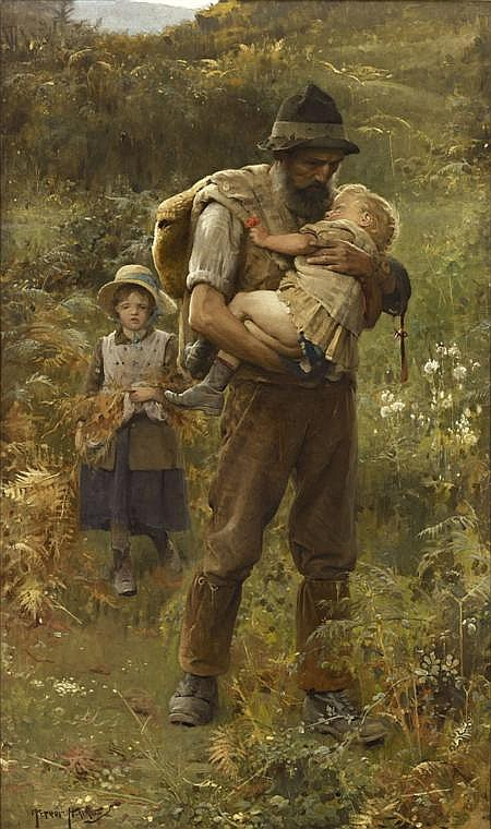 ARTHUR HACKER R.A (BRITISH 1858-1919) HOME FROM THE FIELDS 152cm x 91cm (60in x 36in)