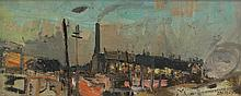§ JOAN EARDLEY R.S.A. (SCOTTISH 1921-1963) TENEMENTS AT EVENING 15cm x 40cm (6in x 16in)