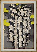 § WILLIAM GEAR R.A., F.R.S.A. (SCOTTISH 1915-1997) LANDSCAPE ON YELLOW 122cm x 81cm (48in x 32in)