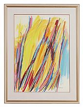 § WILLIAM GEAR (SCOTTISH 1915-1997) YELLOW VERTICAL, '66 73.5cm x 52.5cm (28.75in x 20.75in)