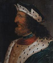 GEORGE JAMESONE (SCOTTISH C.1589-1644) HEAD AND SHOULDER PORTRAIT OF MALCOLM III OF SCOTLAND 66cm x 56cm (26in x 22in)