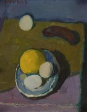 § ALBERTO MORROCCO R.S.A., R.S.W., R.P., R.G.I., L.L.D. (SCOTTISH 1917-1998) STILL LIFE WITH LEMON AND EGGS 38cm x 30.5cm (15in x 12...