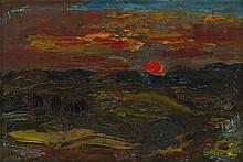 § SIR WILLIAM MACTAGGART P.P.R.S.A., R.A., F.R.S.E., R.S.W. (SCOTTISH 1903-1981) OVER TO SOUTRA 23cm x 33cm (9in x 13in)