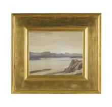 § SIR DAVID YOUNG CAMERON R.A., R.S.A., R.W.S., R.S.W., R.E. (SCOTTISH 1865-1945) LOCH LINNHE PALE MORNING 33cm x 41cm (13in x 16in)