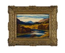SIR DAVID YOUNG CAMERON R.A., R.S.A., R.W.S., R.S.W., R.E. (SCOTTISH 1865-1945) OCTOBER IN RANNOCH 25.5cm x 35.5cm (10in x 14in)