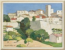 § JOHN MACLAUCHLAN MILNE R.S.A. (SCOTTISH 1886-1957) VILLAGE IN PROVENCE 51cm x 53.5cm (20in x 25in)