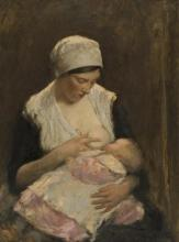 ROBERT GEMMELL HUTCHISON R.B.A., R.O.I., R.S.A., R.S.W. (SCOTTISH 1860-1930) MOTHER AND CHILD 61cm x 46cm (24in x 18in)