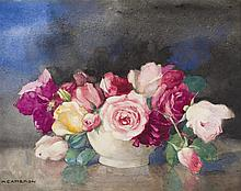 § KATE CAMERON R.S.W., R.E. (SCOTTISH 1874-1965) A STILL LIFE OF ROSES 33cm x 43cm (13in x 17in)
