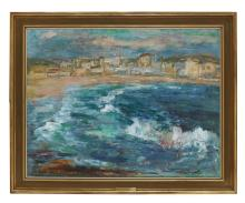 § SIR WILLIAM MACTAGGART P.R.S.A., R.A., F.R.S.E., R.S.W. (SCOTTISH 1903-1981) THE LONELY STRAND 86cm x 112cm (34in x 44in)