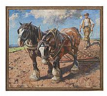§ ARCHIBALD RUSSELL WATSON ALLAN R.S.A. (SCOTTISH 1878-1959) HEAVY HORSES HARROWING 102cm x 122cm (40in x 48in)