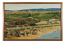 § ALEXANDER MATHESON MCLELLAN R.S.W., R.B.A. (SCOTTISH 1872-1957) THE BEACH AT ABERDEEN WITH DISTANT VIEW OF THE CITY 76cm x 115cm (...