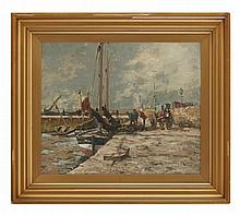 § JOHN MACLAUCHLAN MILNE R.S.A. (SCOTTISH 1886-1957) UNLOADING THE CATCH 51cm x 61cm (20in x 24in)
