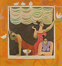 § ALBERTO MORROCCO R.S.A., R.S.W., R.P., R.G.I., L.L.D. (SCOTTISH 1917-1998) THREE SISTERS OF LUCCA 127cm x 122cm (50in x 48in)