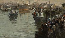 JAMES KAY R.S.A., R.S.W. (SCOTTISH 1858-1942) DEPARTURE FROM THE CLYDE - BOUND FOR THE FRONT 76cm x 127cm (30in x 50in)