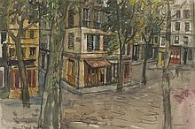 § WILLIAM WILSON O.B.E., R.S.A., R.S.W. (SCOTTISH 1905-1972) OLD STREET IN PARIS 41cm x 61cm (16in x 24in)