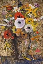 § DAVID MCCLURE R.S.A., R.S.W., R.G.I. (SCOTTISH 1926-198) FLURRY OF BIRDS AND FLOWERS 71cm x 48cm (28in x 19in)