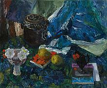 § MARY ARMOUR R.S.A., R.S.W., R.G.I. (SCOTTISH 1902-2000) BLUE STILL LIFE 64cm x 76cm (25in x 30in)