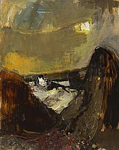§ JOAN EARDLEY R.S.A. (SCOTTISH 1921-1963) THE ROCKS 106cm x 83.5cm (41.75in x 32.75in)