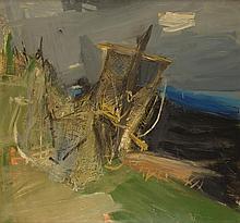 § JOAN EARDLEY R.S.A. (SCOTTISH 1921-1963) FISHING NET DRYING, NO.1 104cm x 111cm (41in x 43,75in)